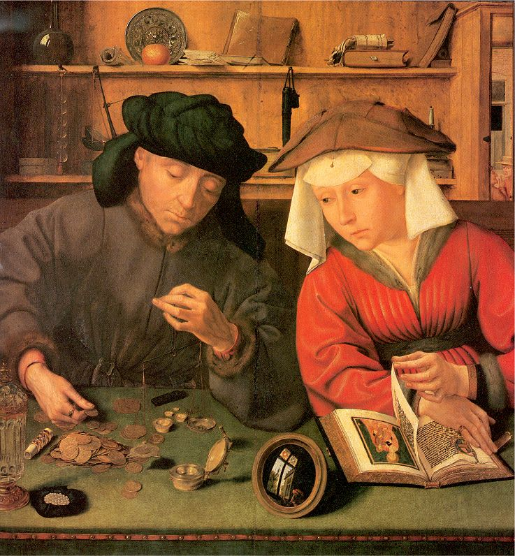 The Moneylender and His Wife (1514) por Quentin Massys (1466 - 1530).