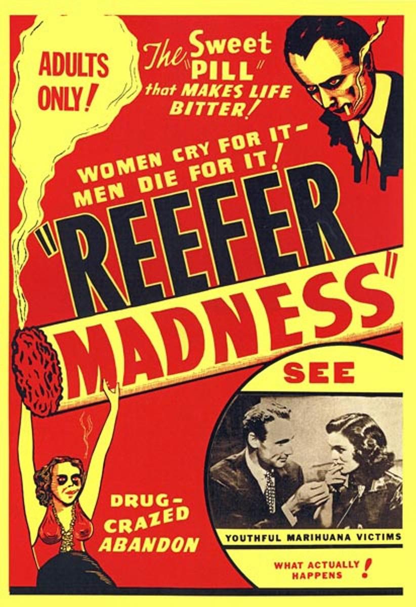 """Cartel de la película """"Reefer Madness"""", dirigida en 1936 por Louis J. Gasnier, en la que jóvenes pasan de probar la mariguana a tocar salvajemente un piano, a la histeria y la muerte."""