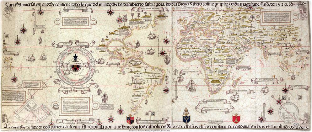 Diego Ribero, Mapamundi, 1529. La ruta de Magallanes fue añadida posteriormente.