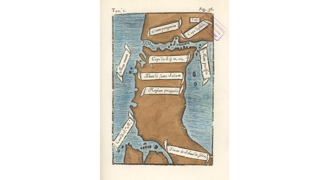Antonio Pigafetta, mapa del Estrecho de Todos Los Santos, 1520.