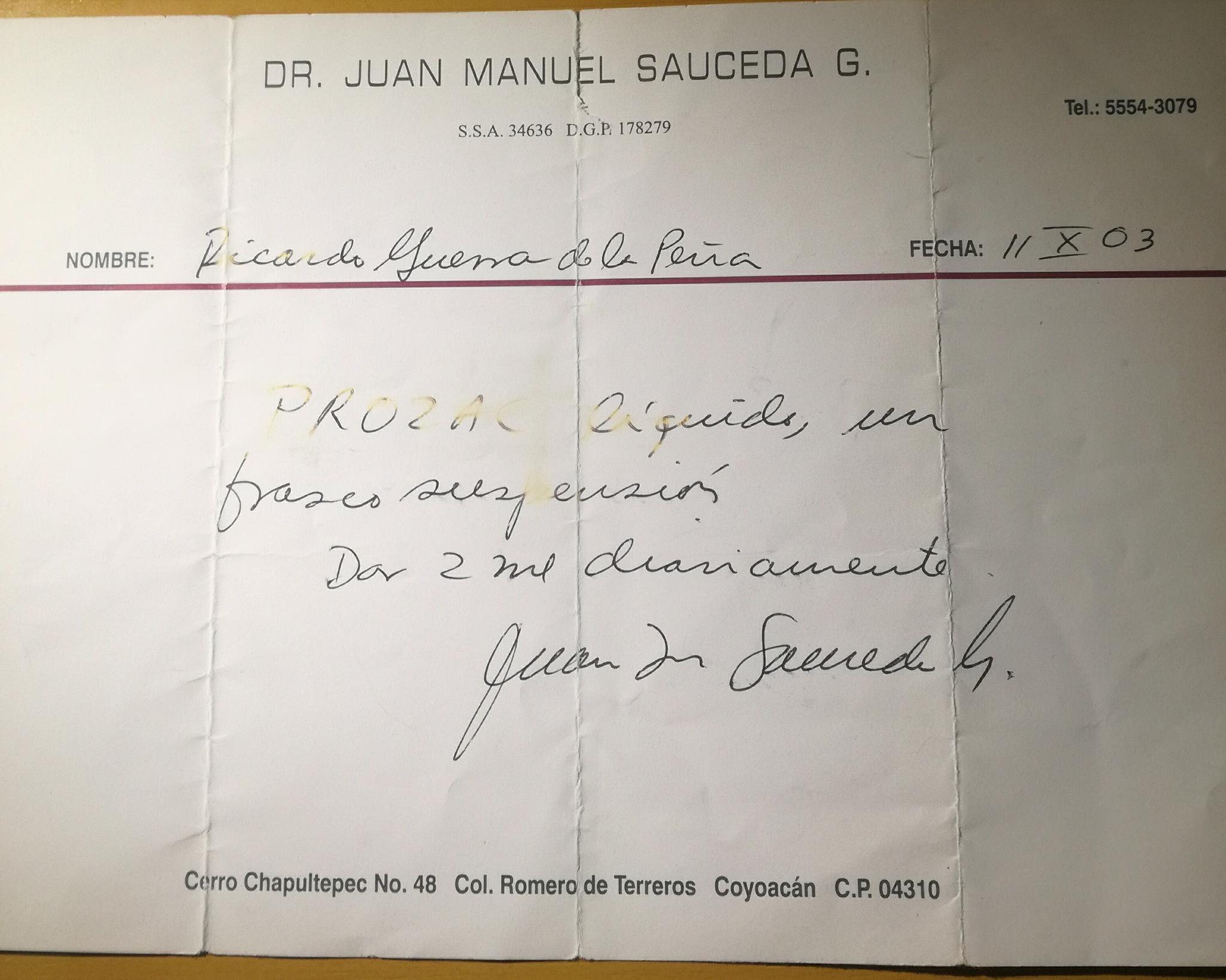 Primera receta psiquiátrica de Ricardo Guerra
