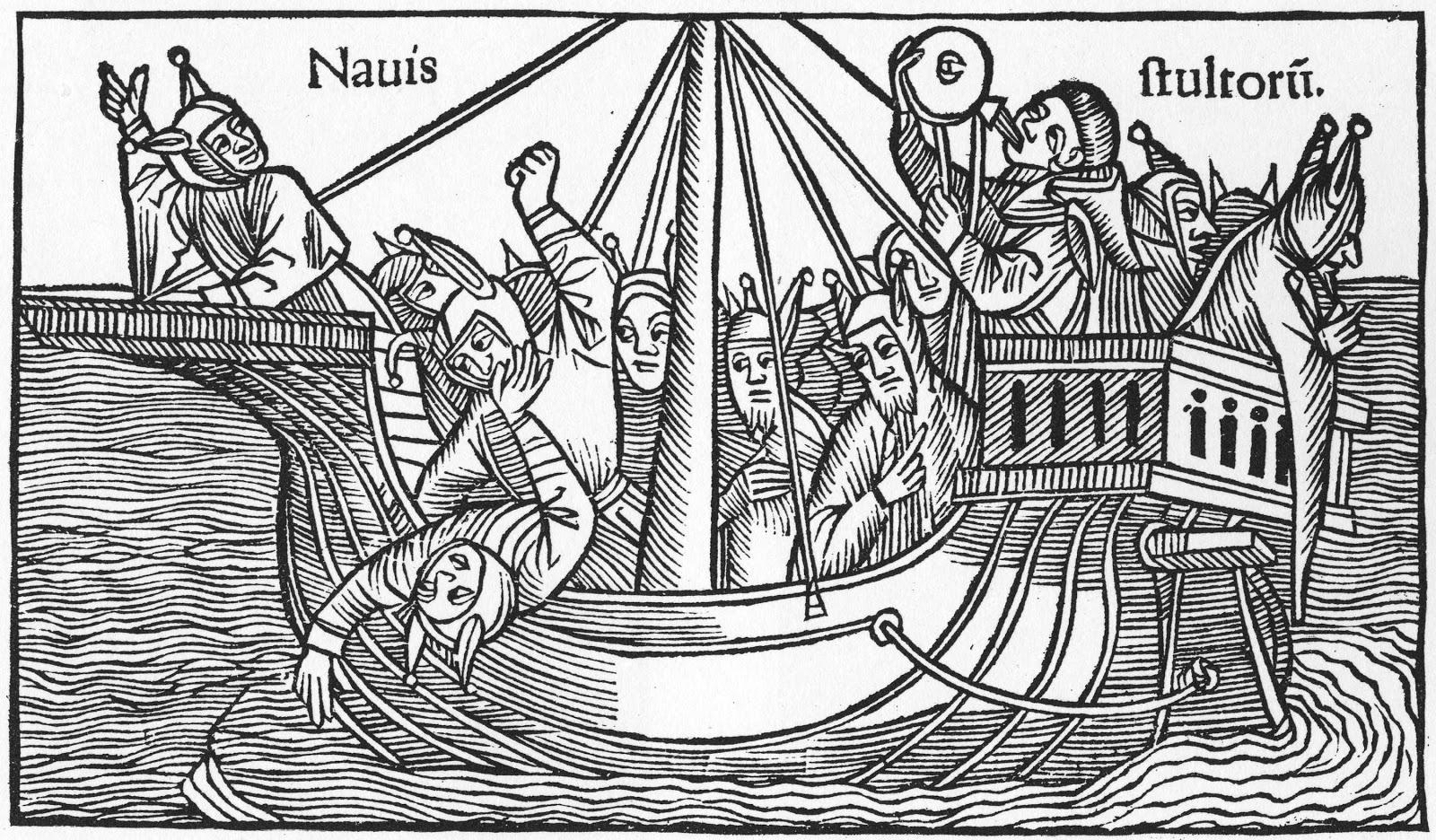 """Ilustración de """"La nave de los locos"""", Albrecht Durer/ Sebastian Brant, 1494"""
