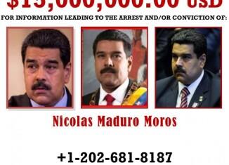 Póster de recompensa de Nicolás Maduro, DEA.