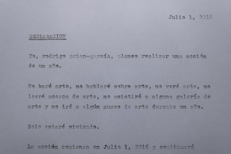 Rodrigo Prian-García, Ninguna pieza de arte, 2016-2017